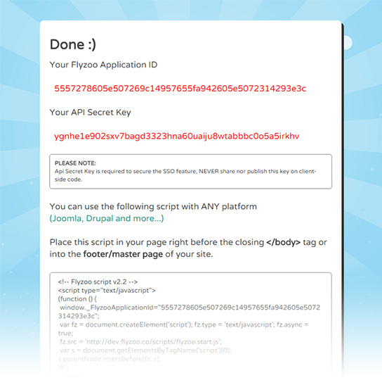 Copy the chat for website script
